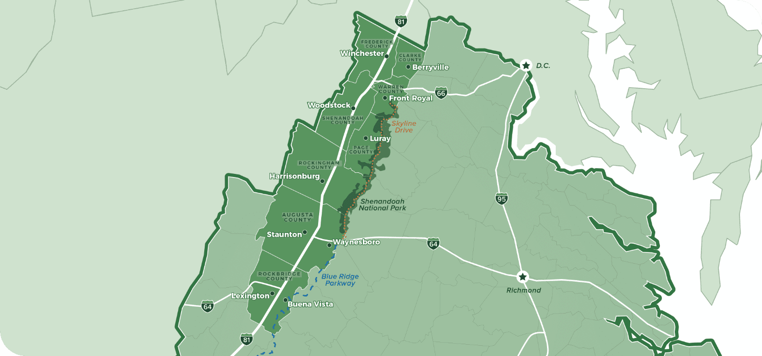 An illustrated map of the Shenandoah Valley region